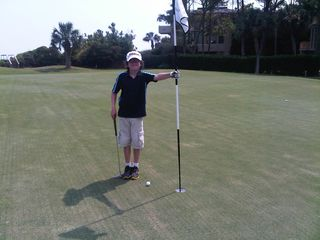 Liam near hole in one Ocean Course 15th hole August 19 2011