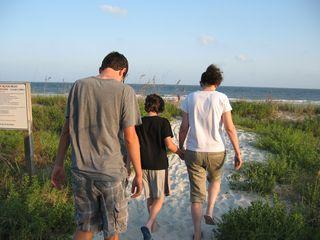 Walking to beach